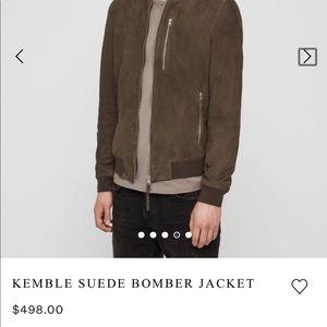 All Saints Kemble Suede Slim-Fit Bomber Jacket